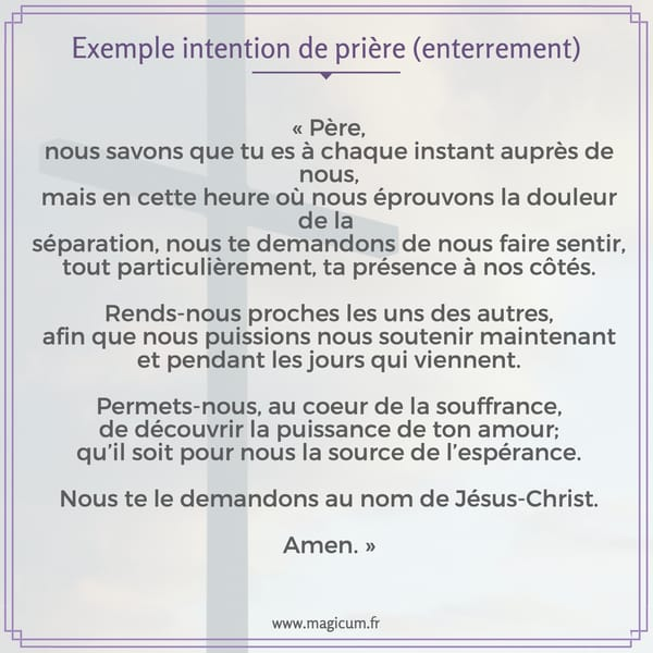 Exemple intention de prière (enterrement)