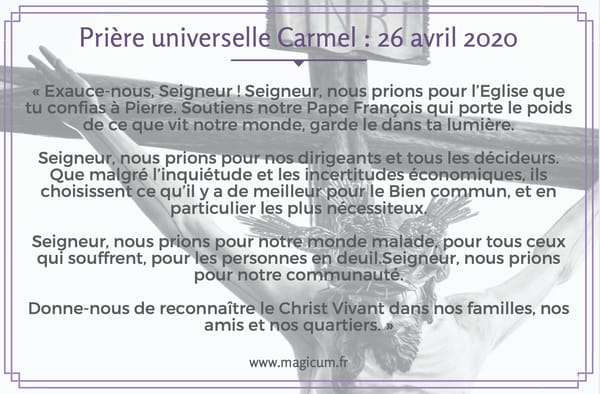 Prière universelle Carmel : 26 avril 2020