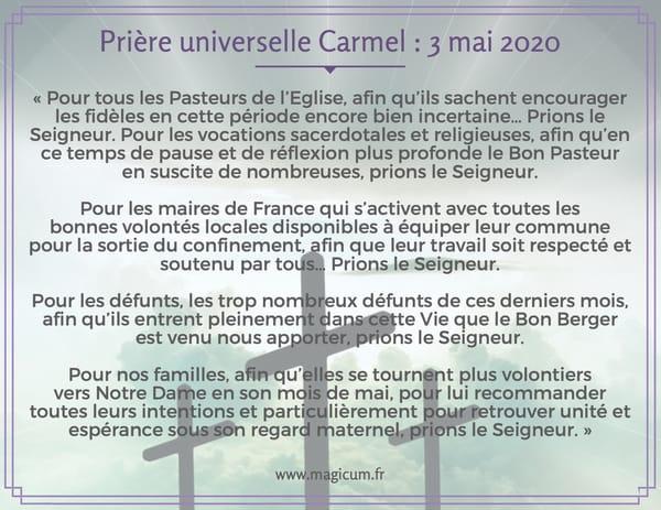 Prière universelle Carmel : 3 mai 2020